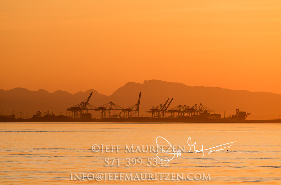 Shipping cranes at a port in Queen Charlotte Strait, British Columbia, Canada.