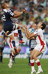 Juan de Jongh of the Stormers and Rod Davies go up for the high ball during the Super Rugby (Super 15) fixture between DHL Stormers and the Reds played at DHL Newlands in Cape Town, South Africa on 9 April 2011. Photo by Jacques Rossouw/SPORTZPICS