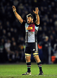 Chris Robshaw of Harlequins puts his hands up - Photo mandatory by-line: Patrick Khachfe/JMP - Mobile: 07966 386802 17/01/2015 - SPORT - RUGBY UNION - London - The Twickenham Stoop - Harlequins v Wasps - European Rugby Champions Cup