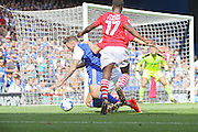 Barnsley defender Marc Roberts makes the foul that leads to a penalty and Ipswich's 3rd goal during the EFL Sky Bet Championship match between Ipswich Town and Barnsley at Portman Road, Ipswich, England on 6 August 2016. Photo by Nigel Cole.