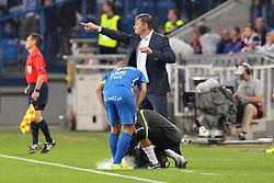 29.07.2015, INEA Stadion, Poznan, POL, UEFA CL, Lech Poznan vs FC Basel, Qualifikation, 3. Runde, Hinspiel, im Bild (L) LUKASZ TRALKA (P) MACIEJ SKORZA TRENER HEAD COACH URAZ KONTUZJA BOL // during the UEFA Champions League Qualifier, third round, first Leg match between Lech Posen and FC Basel at the INEA Stadion in Poznan, Poland on 2015/07/29. EXPA Pictures © 2015, PhotoCredit: EXPA/ Newspix/ Wojciech Klepka<br /> <br /> *****ATTENTION - for AUT, SLO, CRO, SRB, BIH, MAZ, TUR, SUI, SWE only*****
