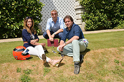 Left to right, LOUISE DAVIES, SIR CHRIS HOY and JAMES MARTIN at the Cartier hosted Style et Lux at The Goodwood Festival of Speed at Goodwood House, West Sussex on 29th June 2014.