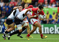 Nathan Hirayama of Canada takes on the Romania defence - Mandatory byline: Patrick Khachfe/JMP - 07966 386802 - 06/10/2015 - RUGBY UNION - Leicester City Stadium - Leicester, England - Canada v Romania - Rugby World Cup 2015 Pool D.