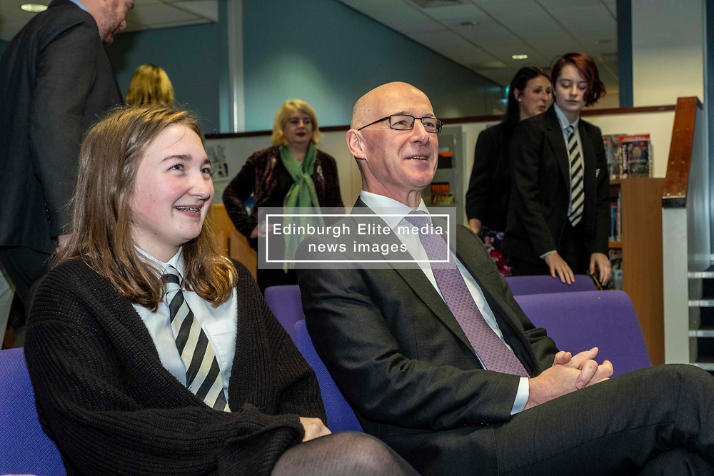 Pictured: Student Kirsty Wood (15) outlined her part in the development of the project to Mr Swinney<br />