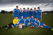 St John's pose with the Senior Johnston Trophy - Grove (light blue v St John's (blue) Senior Johnston Trophy Final at Whitton Park, Dundee, Photo: David Young<br /> <br />  - &copy; David Young - www.davidyoungphoto.co.uk - email: davidyoungphoto@gmail.com