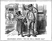 Mr Punch's advice to the British workman at the time of the opening of the Post Office Savings Bank. Save money by giving up drink (alcohol) From 'Punch', London, 23 February 1861