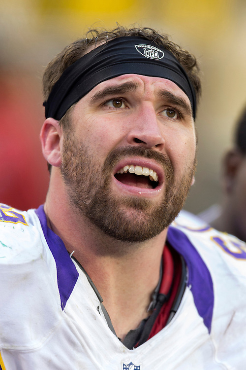 GREEN BAY, WI - DECEMBER 2:  Jared Allen #69 of the Minnesota Vikings on the sidelines during a game against the Green Bay Packers at Lambeau Field on December 2, 2012 in Green Bay, Wisconsin.  The Packers defeated the Vikings 23-14.  (Photo by Wesley Hitt/Getty Images) *** Local Caption *** Jared Allen