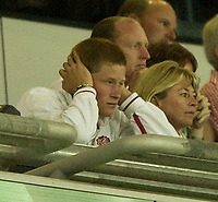 Photo: Richard Lane.<br />England v Wales.  Quarter-Final 2, at the Suncorp Stadium, Brisbane. RWC 2003. 09/11/2003.<br />Prince Harry looks on as England struggle in the first half.