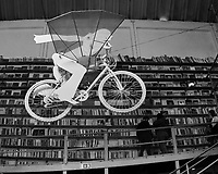 Bike in a Bookstore. Afternoon Street Photography in the LX Factory. Image taken with a Nikon D850 camera and 8-15 mm fisheye lens.