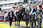 A'ALI (1) ridden by Frankie Dettori and trained by Simon Crisford enter the Winners Enclosure after winning The Group 2 Wainwright Flying Childers Stakes over 5f (£70,000) during the third day of the St Leger Festival at Doncaster Racecourse, Doncaster, United Kingdom on 13 September 2019.