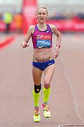 Lilia Fisikovici (Moldova) approaching the finish line in the Women's Elite race, during the Virgin Money 2019 London Marathon, London, United Kingdom on 28 April 2019.