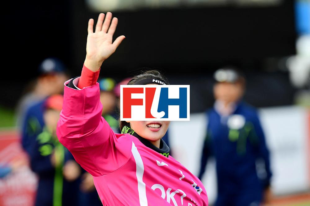 AUCKLAND - Sentinel Hockey World League final women<br /> Match id 10321<br /> Korea v England Bronze<br /> Foto:  Soo Ji Jang (Gk) ceremony <br /> WORLDSPORTPICS COPYRIGHT FRANK UIJLENBROEK