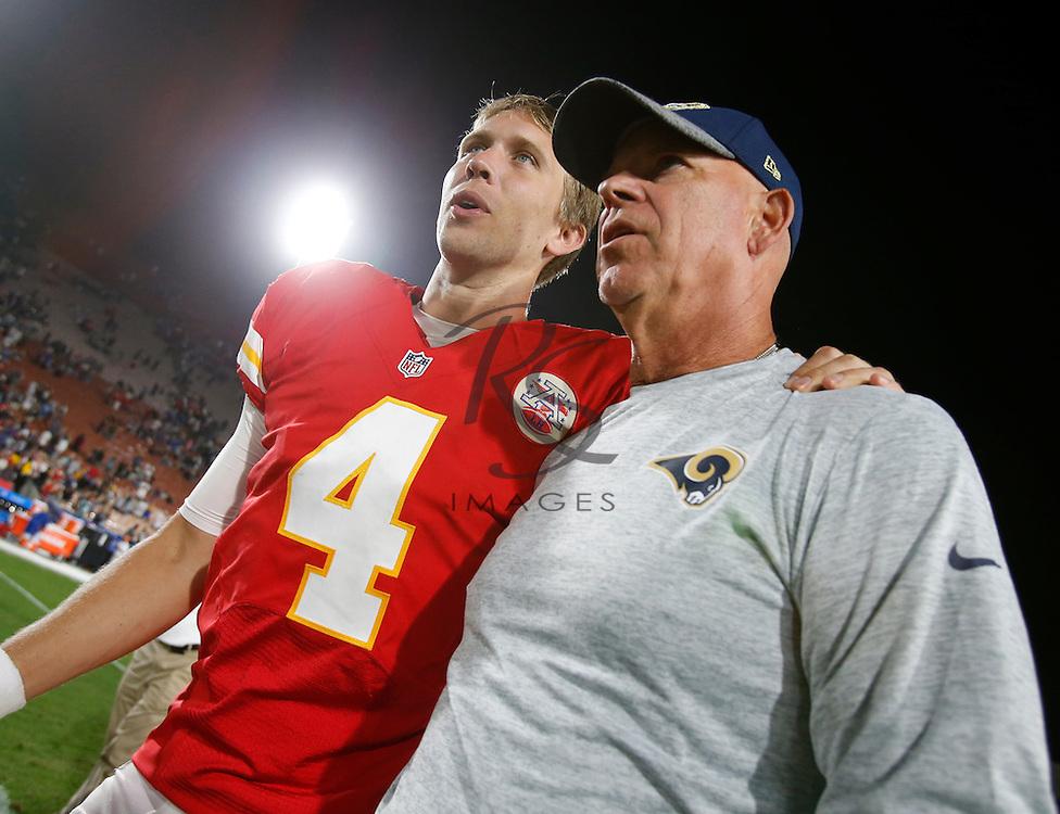 Kansas City Chiefs quarterback Nick Foles (4) during a preseason NFL football game against the Los Angeles Rams, Saturday, Aug. 20, 2016, in Los Angeles. (AP Photo/Rick Scuteri)