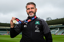 (Free to use courtesy of Sky Bet) Manager Ryan Lowe Plymouth Argyle celebrate promotion to League One after the curtailment of the regular season due to the Covid-19 pandemic - Rogan/JMP - 01/07/2020 - Home Park - Plymouth, England - Sky Bet League 2.