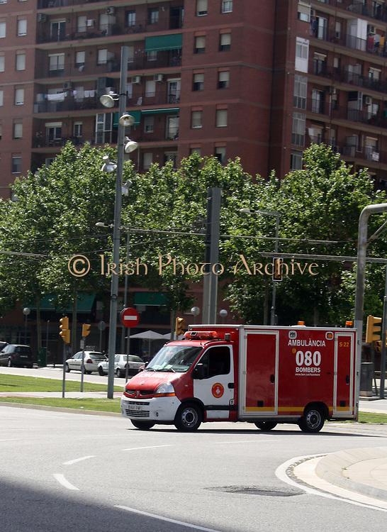 Ambulance emergency vehicle in Barcelona. Spain 2013