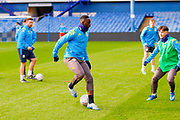 Leeds United forward Jean Kevin Augustin (29), on loan from Red Bull Leipzig, warming up  during the U23 Professional Development League match between U23 Sheffield Wednesday and U23 Leeds United at Hillsborough, Sheffield, England on 3 February 2020.