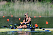 Lucerne, SWITZERLAND<br /> <br /> NZL W1X. Emma TRIGG, in the start area at the 2016 European Olympic Qualifying Regatta, Lake Rotsee.<br /> <br /> Sunday  22/05/2016<br /> <br /> [Mandatory Credit; Peter SPURRIER/Intersport-images]