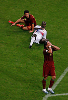 Photo: Glyn Thomas.<br />Portugal v France. Semi Final, FIFA World Cup 2006. 05/07/2006.<br /> Portugal's Fernando Meira (R) rues missing a great chance late on to equalise.