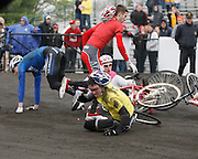 April 16, 2011:  An accident in turn three takes out several teams  including the favorite Cutters (in yellow jersey) during the Men's Little 500 bicycle race held at Armstrong Stadium on the campus of Indiana University in Bloomington, IN.