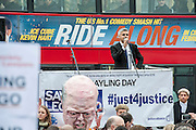 Hundreds of lawyers and barristers staged a protest at Westminster against legal aid cuts. They carried with them a huge effigy of Chris Grayling, the Justice Minister and were led by 'Justice' in a gold costume.<br /> <br /> Speakers included - Sadiq Khan (pictured) is the Labour MP for Tooting and shadow minister for London, Shami Chakrabarti Director of Liberty, Blur drummer-turned-solicitor Dave Rowntree and Paddy Hill, one of the Birmingham Six.  Houses of Parliament, Westminster, London, UK 07 March 2014.<br /> Guy Bell, 07771 786236, guy@gbphotos.com