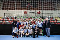 Players of ZRK Z Dezele on third place during handball match between RK Ljubljana and ZRK Z Dezele in Bronze Medal game of Slovenian Women Handball Cup 2017/18, on April 1, 2018 in Park Kodeljevo, Ljubljana, Slovenia. Photo by Matic Klansek Velej / Sportida