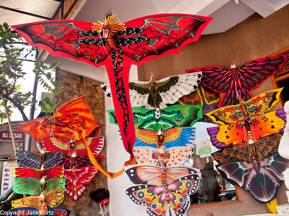 Apr. 25 -- UBUD, BALI, INDONESIA:  Balinese kites for sale on Monkey Forest Road in Ubud. Ubud is considered Bali's artistic and cultural heart. About 20 miles from the beaches near Kuta, it attracts a slightly older crowd.  PHOTO BY JACK KURTZ