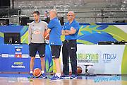 DESCRIZIONE: Torino FIBA Olympic Qualifying Tournament Allenamento<br /> GIOCATORE: Luca DalMonte Marco Esposito<br /> CATEGORIA: Nazionale Italiana Italia Maschile Senior Allenamento<br /> GARA: FIBA Olympic Qualifying Tournament Semifinale Allenamento<br /> DATA: 09/07/2016<br /> AUTORE: Agenzia Ciamillo-Castoria