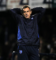 npower League One - 17/11/2012 - Portsmouth vs Doncaster Rovers<br /> at Fratton Park<br /> Portsmouth's Caretaker Manager Guy Whittingham is dejected during the match