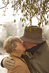 Close up of a mature couple standing under a tree kissing