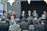 Olivier Brachet, Rolland Bernard, Elvire Servien, Gerard Collomb, Myriam Picot, Thierry Philip and Odile Belinga attend the Press Conference for The March 2014 Mayoral Elections