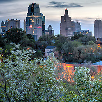 Downtown Kansas City, Missouri skyline and skyscrapers at sunrise with springtime foliage in foreground, taken from Observation Park in the West Side neighborhood.