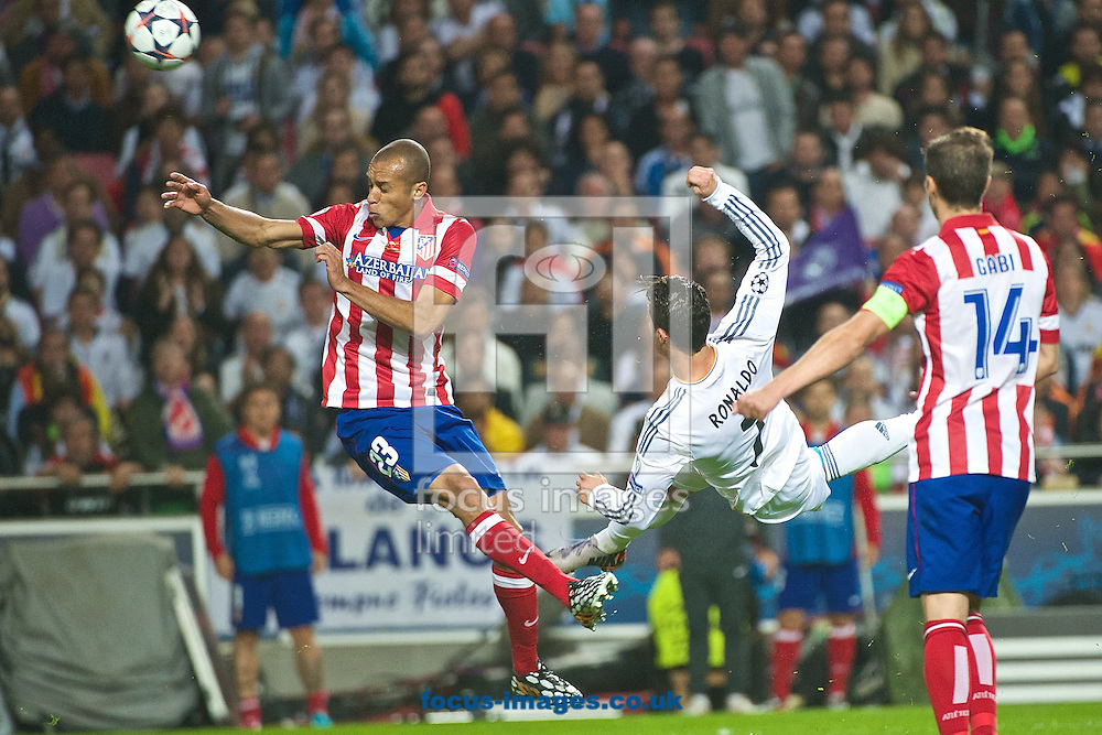 Cristiano Ronaldo of Real Madrid shoots at goal during the UEFA Champions League Final at Est&aacute;dio da Luz, Lisbon<br /> Picture by Ian Wadkins/Focus Images Ltd +44 7877 568959<br /> 24/05/2014