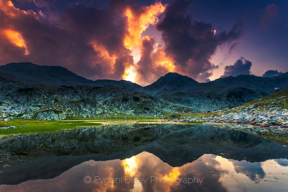 Mountain lake at sunrise