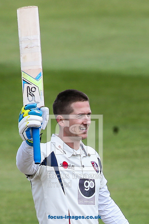 Joe Denly of Kent acknowledges the applause on reaching his double century during the Specsavers County C'ship Div Two match at the County Ground, Northampton<br /> Picture by Andy Kearns/Focus Images Ltd 0781 864 4264<br /> 16/05/2016