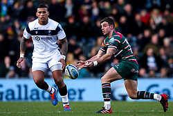 George Ford of Leicester Tigers takes on Nathan Hughes of Bristol Bears - Mandatory by-line: Robbie Stephenson/JMP - 04/01/2020 - RUGBY - Welford Road - Leicester, England - Leicester Tigers v Bristol Bears - Gallagher Premiership Rugby