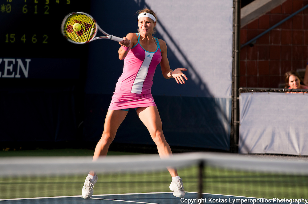 August 29, 2011; New York, NY, USA; Maria Kirilenko (RUS) reacts during her match against Ekaterina Makarova(RUS) on day one of the 2011 US Open at the Billie Jean King Tennis Center.  Mandatory Credit: Kostas Lymperopoulos