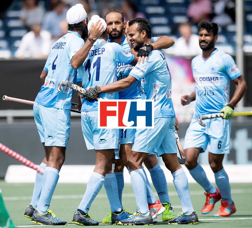 BREDA - Rabobank Hockey Champions Trophy<br /> India - Pakistan<br /> Photo: Ramandeep Singh scores the 1-0.<br /> COPYRIGHT WORLDSPORTPICS FRANK UIJLENBROEK