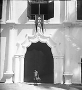 """India – Kerala – Manueline doorway - Vypeen Island opposite Cochin- Igreja de Nossa Senhora da Esperança – Our Lady of Hope.<br /> The Church of Our Lady of Hope, also known as """"Nossa Senhora Da Esperança"""" is a Roman Catholic church in the Diocese of Cochin. It is located at the island of Vypeen - the point where the Vembanad Lake merges with the Arabian Sea, with Fort Cochin on the other side.<br /> <br /> The church, with an area of 10 km2, occupying southern end of Vypeen Island, is the northern most boundary of Diocese of Cochin. It happens to be one of the oldest churches in Cochin, built by the Portuguese in 1605 A.D"""