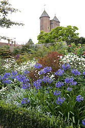View towards the Tower at Sissinghurst Castle Garden. Agapanthus 'Loch Hope' and Anemone × hybrida 'Honorine Jobert' in the foreground