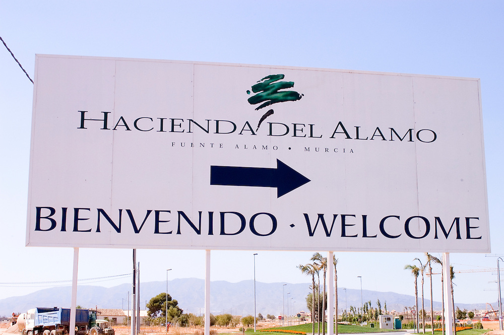 The entrance to Hacienda del Alamo property development, Fuente Alamo, Murcia, Spain, which has come under fire for the number of houses being built in an area of water shortages.