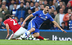 May 8, 2017 - Chelsea, Greater London, United Kingdom - Chelsea's Diego Costa gets browght down by Fabio of Middlesbrough.during Premier League match between Chelsea and Middlesbrough at Stamford Bridge, London, England on 08 May 2017. (Credit Image: © Kieran Galvin/NurPhoto via ZUMA Press)
