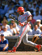 CHICAGO - 1990: Barry Larkin of the Cincinnati Reds bats during an MLB game against the Chicago Cubs at Wrigley Field in Chicago, Illinois during the 1990 season. (Photo by Ron Vesely).  Subject:   Barry Larkin