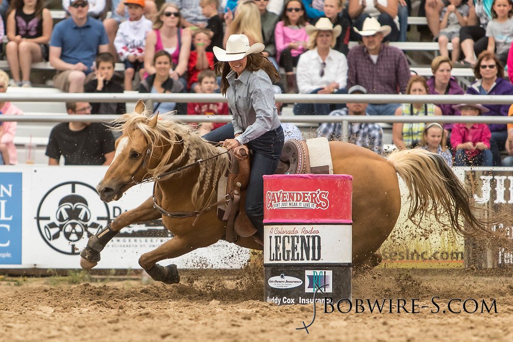 Jenna Pruitt makes her barrel racing run during the third performance of the Elizabeth Stampede on Sunday, June 3, 2018.