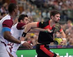 11.03.2016, Leipzig, GER, Handball Länderspiel, Deutschland vs Katar, Herren, im Bild Fabian Wiede (GER #10) gegen Kamalaldin Mallash (QAT #25) // during the men's Handball international Friendlies between Germany and Qatar in Leipzig, Germany on 2016/03/11. EXPA Pictures © 2016, PhotoCredit: EXPA/ Eibner-Pressefoto/ Modla<br /> <br /> *****ATTENTION - OUT of GER*****