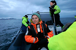 NORWAY ANDENES 8DEC15 - Greenpeace campaigner Larissa Baeumer of Germany during a whale research boat trip off the coast of Andenes, Norway.<br /> <br /> jre/Photo by Jiri Rezac / Greenpeace<br /> <br /> © Jiri Rezac 2015