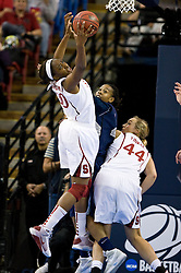 March 29, 2010; Sacramento, CA, USA; Stanford Cardinal forward Nnemkadi Ogwumike (30) grabs a rebound against the Xavier Musketeers during the first half in the finals of the Sacramental regional in the 2010 NCAA womens basketball tournament at ARCO Arena. Stanford defeated Xavier 55-53.