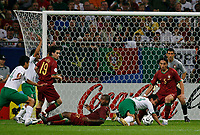 Photo: Glyn Thomas.<br />Portugal v Mexico. FIFA World Cup 2006. 21/06/2006.<br /> Mexico's Luis Perez (third from R) is brought down by Miguel (fourth from R) for a penalty.