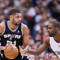 16 December 2013: San Antonio Spurs power forward Tim Duncan (21) posts up Los Angeles Clippers power forward Antawn Jamison (33) during the Los Angeles Clippers 115-92 victory over the San Antonio Spurs at the Staples Center, Los Angeles, California, USA.