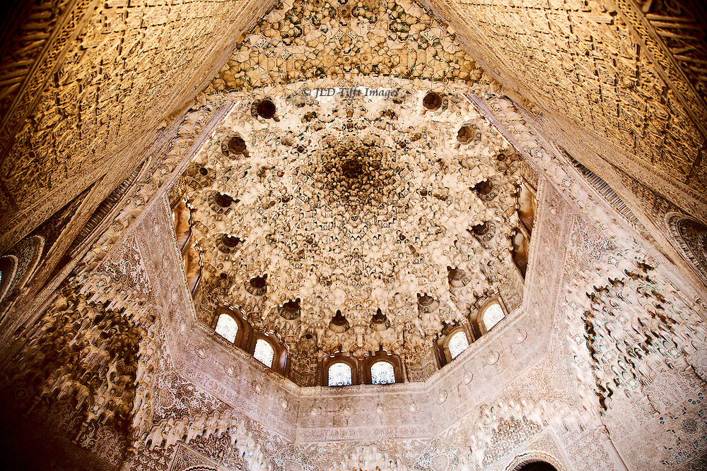 Alhambra, Sala de las dos hermanas, dome interior looking upward at the elaborate decoration.