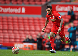 LIVERPOOL, ENGLAND - Sunday, February 7, 2016: Liverpool's Jerome Sinclair in action against Manchester City during the Under-21 FA Premier League match at Anfield. (Pic by David Rawcliffe/Propaganda)